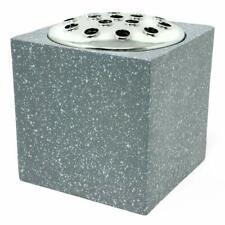 Grey Speckled With Silver Lid Memorial Graveside Funeral Flower Rose Bowl Vase
