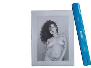 Original 8.5x11 Inch Pencil Drawing Of Nude Woman Done By Artist ARTuro