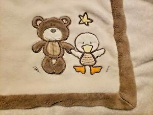 Koala Baby Teddy Bear and Duck Baby Blanket Tan Brown Yellow Star