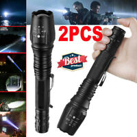 2Pcs Tactical 900000Lumens T6 Zoomable 18650 LED Flashlight Torch Light Lamp USA