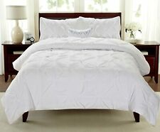 Swift Home Premium Collection 3-Piece Pintuck Comforter Set White Full/Queen NEW