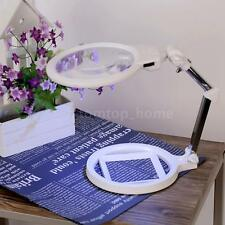 Foldable Table Desk Magnifier 2X 6X Magnifying Glass LED Light With Scale Y5U9