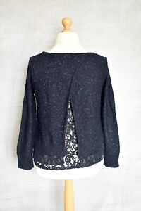 MINT VELVET Navy blue metallic chunky knit lace underlay jumper 12