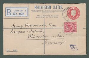 1921 GB - uprated GV 5d Registered envelope from London to Germany (P753)
