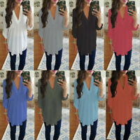 T-shirt Neck Tunic Women Plus Long Chiffon Top Sleeve Ladies Shirt Size V Blouse