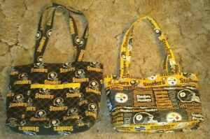 Lot of 2 PITTSBURGH STEELERS NFL Quilted Cotton Lunch Bag Tote Purse