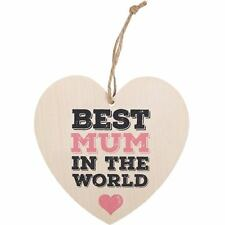 Best Mum In The World Wooden Heart Hanging Plaque Shabby Chic