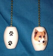 One Corgi Dog Fan Pull with Paw Prints on the Back 1""