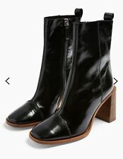 NEW TOPSHOP REAL LEATHER HOMERUN BLACK ANKLE BOOTS UK SIZE 8 EUR 41 RRP £89