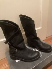 Coolway Alida - Black Leather Slouchy Dual Buckle Boot. Women's Size 9.