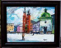 "Original impressionistic oil painting ""Krakow"" 16x12, signed, framed"