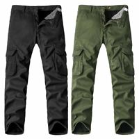 Mens Winter Cotton Fleece Cargo Combat Work Pockets Long Pants Trousers LOT *#