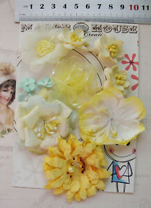 LEMON CREAM & MINT Mix 7 Styles = 11 PAPER & SILK Flowers 10-55mm across VC2