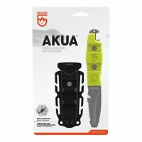 """GEAR AID Akua Blunt Tip Paddle Knife with Serrated Blade and Sheath, Green, 3"""""""