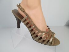 Bandolino Pearlie Leather Taupe Womens Sz 11 Shoes Sandals Heels Strappy