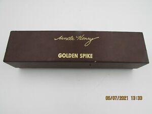 Vintage Schrade 153UH USA Fixed Blade Hunting Knife Sheath Golden Spike Henry US