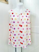 ModCloth Women's Size XL Multicolor Polka Dot Yellow Pink Red Keyhole Tank Top