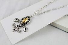 3pcs Tibetan Silver Golden Fleur de lis Necklaces