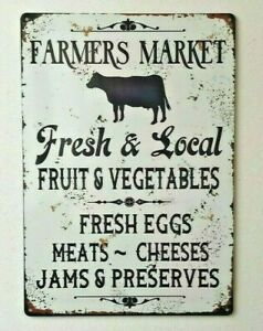 Farmers Market Sign Kitchen Dining Vintage Style Metal Wall Sign
