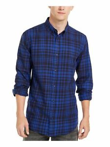 LEVI'S Mens Blue Plaid Long Sleeve Collared Classic Fit Button Down Shirt M