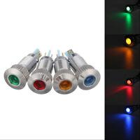 Car Truck LED Panel Dash Lamp Warning Light Indicator Waterproof 12V Metal 8mm