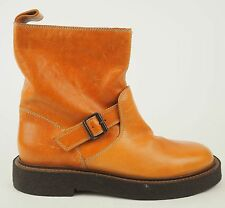 Maison Martin Margiela Camel Tan Distressed Leather Motorcycle Boots 36.5 6 $995