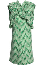 Marni Crossover Ruffle Trimmed Pinted Cotton Poplin Green Dress Size 46, US 14
