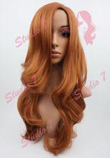 W87 Auburn Dark Ginger Long Wavy Ladies Wig Synthetic Skin Top from Studio7 UK