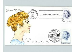 JOINT ISSUE, GRACE KELLY, Movie Star, Hand colored, U.S. & Monaco cancels, FDC