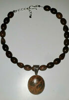 Vintage Chunky Tiger Iron Necklace Statement Pendant Stone Bead Brown Silver