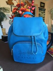 COACH Jes Backpack with Horse and Carriage 90399 Blue Jay  Pebble Leather Bag