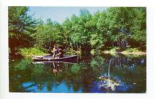 Québec, North Hatley Souvenir postcard, man fishing, real or fake fish? 1960's?