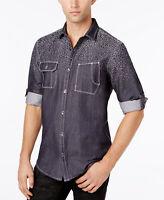 INC International Concepts Men's Chambray Jacquard Shirt Basic Navy Large