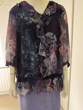 TWO MONSOON Purple/Green Floral Chiffon Blouses Elasticated Waist Top Sz 22 £55