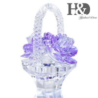 Crystal Roses Figurines Cut Glass Ornament Flower Collectible Wedding Decor Gift