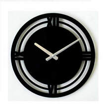 Metal Wall Clock Modern Unique Large Black Classic Home Decor FREE SHIPPING
