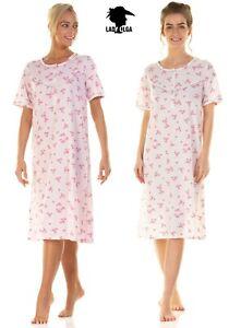 Ladies Jersey Short Sleeve Cotton Rich Floral Nightie Nightdress by Lady Olga