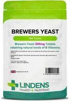 Brewers Yeast 300mg X 500 Tablets, B Vitamins, Energy Vegetarian Vegan, LINDENS