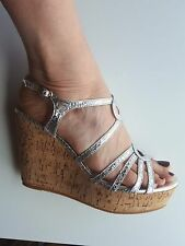 Silver Double Loop Cork Wedge Sandals Sizes UK 3 4 5 6 7 8 / EU 36-41