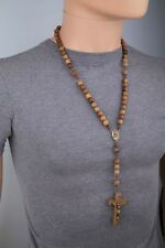 Rosary Necklace for Men Wooden Brown Carved Beads Strong Cord Rope Catholic