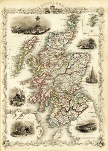 "1851 Map Scotland Shetland Islands Irish Wall Art Print 11""x15"" Poster History"