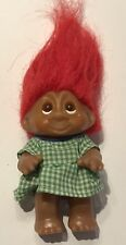 Vintage Dam Norfin Troll Red Hair Green Gingham Dress 3� Doll Figure 1980s