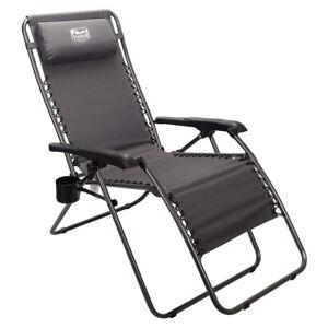 Timber Ridge Zero Gravity Locking Outdoor Patio Recliner Lounge Chair, Gray
