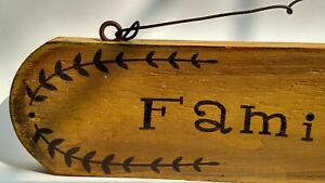 "Handcrafted RUSTIC SIGN Wall Décor ""Family is Everything"" Goldenrod/Amber 24""x3"""