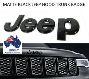 1X BLACK JEEP CAR METAL BADGE TRUNK BONNET EMBLEM CHEROKEE WRANGLER RENEGADE