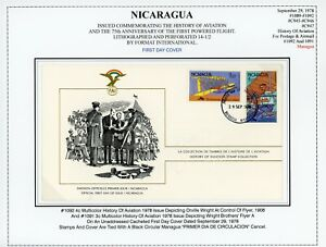 Nicaragua Aviation History Specialized: Scott #1091-1092 Cacheted FDC $$$