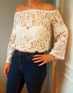 Women Lace flare sleeve off the shoulder white bardot top