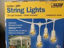 Feit Outdoor Weatherproof String Light Set 48ft 24 WHITE LED Sockets Bulbs Patio