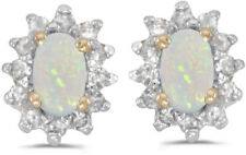 14k Yellow Gold Oval Opal And Diamond Earrings (CM-E6410X-10)