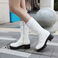 Women Gothic Platform Lace Up Chunky Heel Round Toe Casual Mid Calf Riding Boots